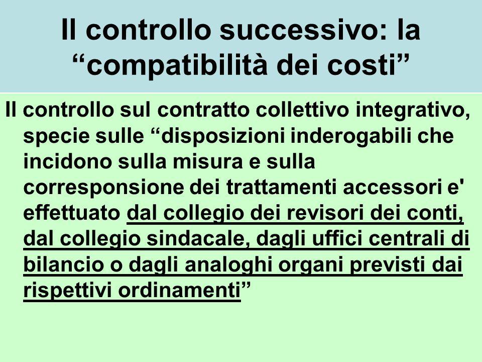 Il controllo successivo: la compatibilità dei costi