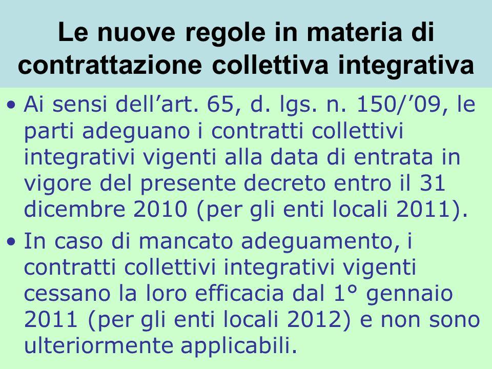 Le nuove regole in materia di contrattazione collettiva integrativa