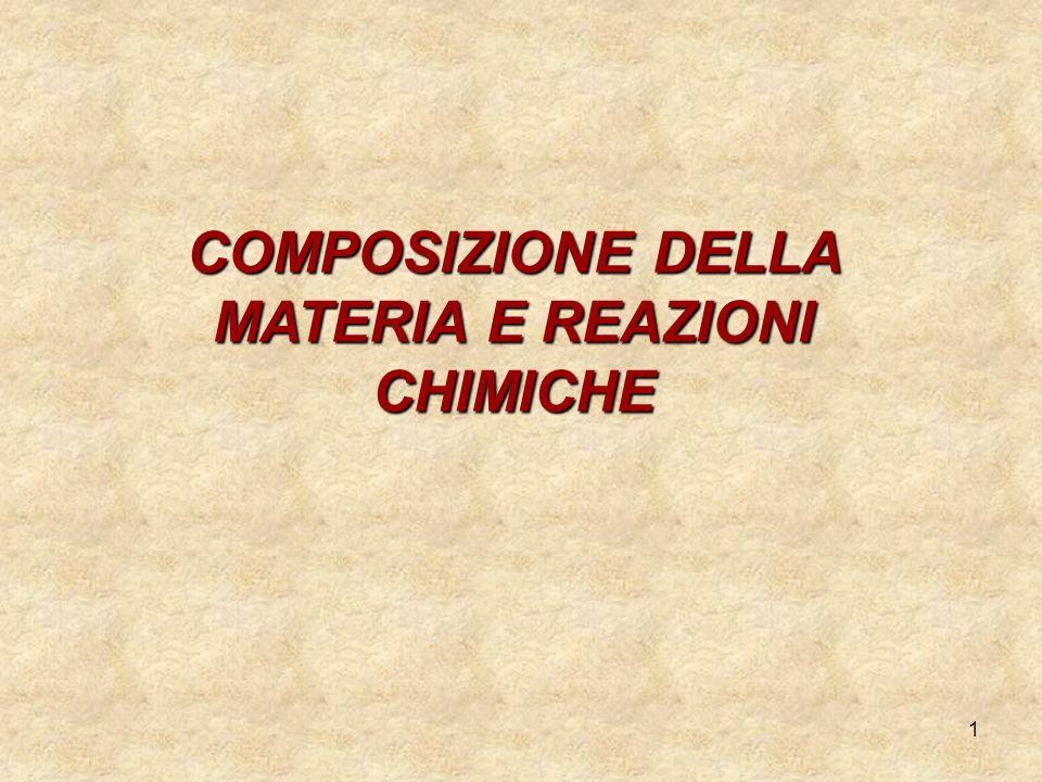COMPOSIZIONE DELLA MATERIA E REAZIONI CHIMICHE