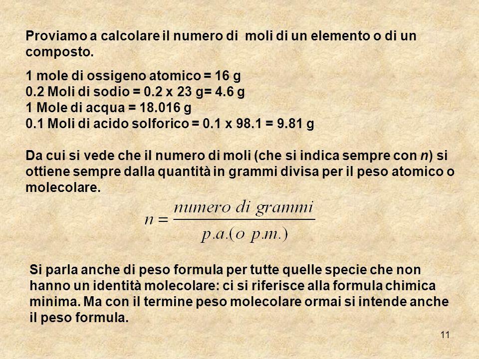 Proviamo a calcolare il numero di moli di un elemento o di un composto.