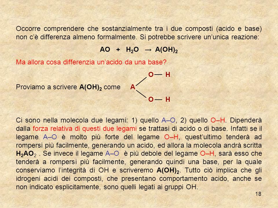 Occorre comprendere che sostanzialmente tra i due composti (acido e base) non c'è differenza almeno formalmente. Si potrebbe scrivere un'unica reazione: