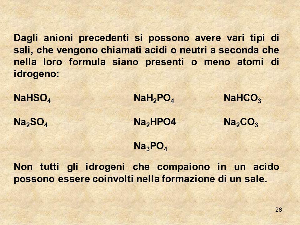 Dagli anioni precedenti si possono avere vari tipi di sali, che vengono chiamati acidi o neutri a seconda che nella loro formula siano presenti o meno atomi di idrogeno:
