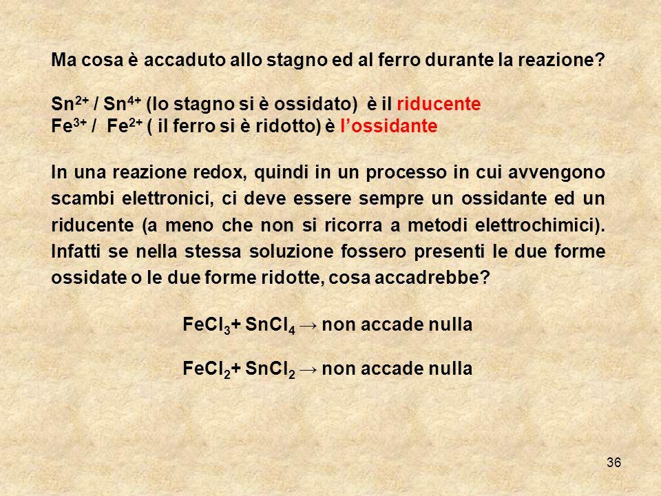 FeCl3+ SnCl4 → non accade nulla FeCl2+ SnCl2 → non accade nulla