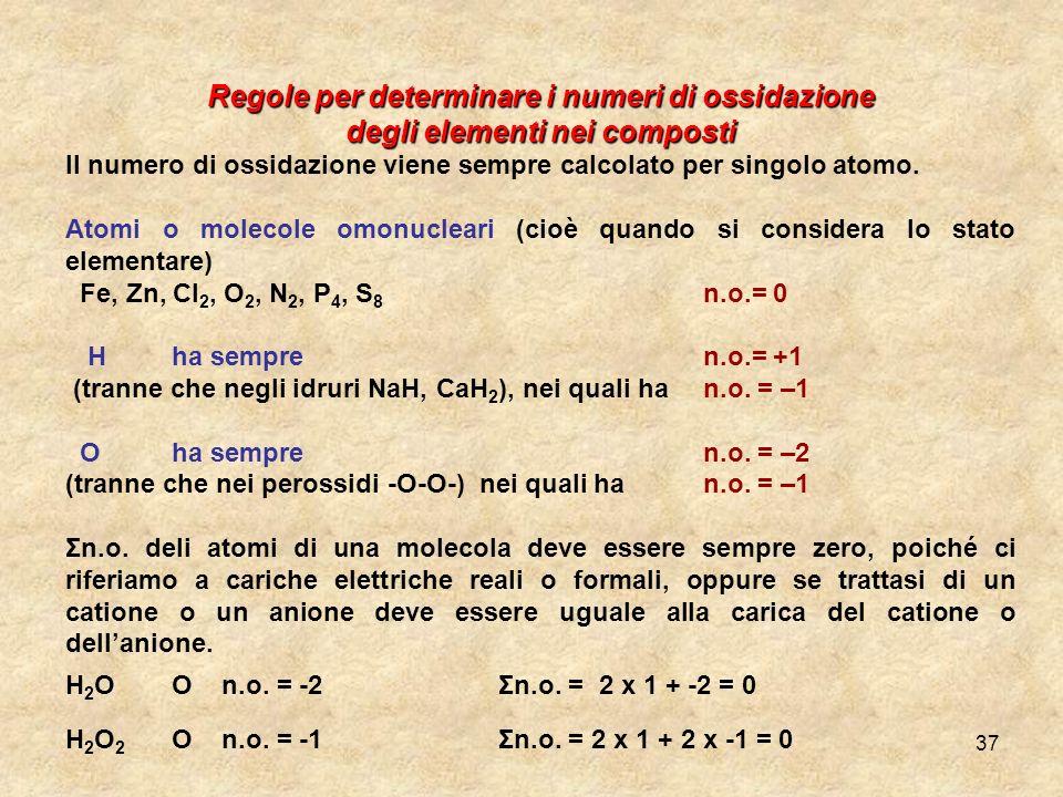 Regole per determinare i numeri di ossidazione