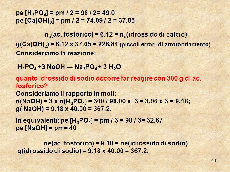 ne(ac. fosforico) = 6.12 = ne(idrossido di calcio)
