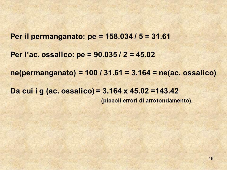 Per il permanganato: pe = 158.034 / 5 = 31.61