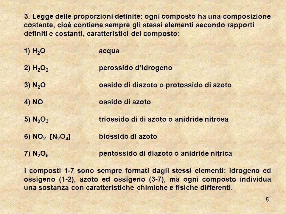 3. Legge delle proporzioni definite: ogni composto ha una composizione costante, cioè contiene sempre gli stessi elementi secondo rapporti definiti e costanti, caratteristici del composto: