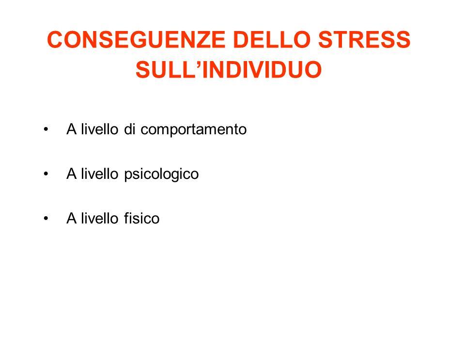 CONSEGUENZE DELLO STRESS SULL'INDIVIDUO
