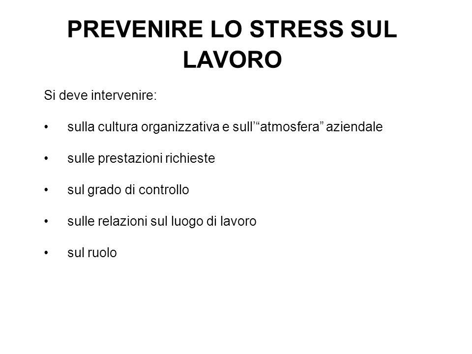 PREVENIRE LO STRESS SUL LAVORO