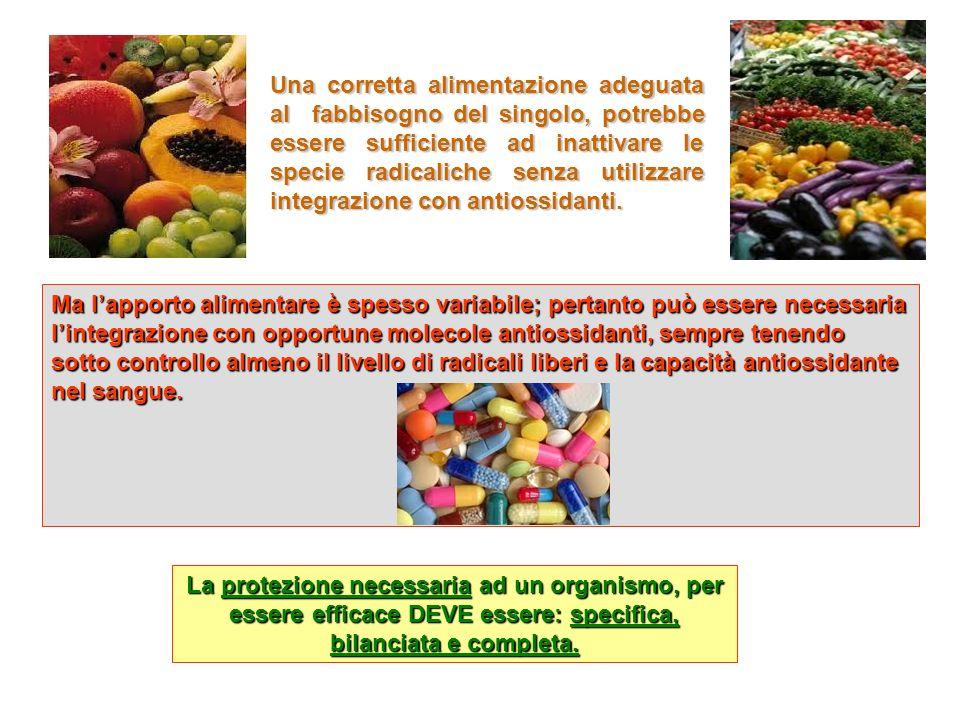Una corretta alimentazione adeguata al fabbisogno del singolo, potrebbe essere sufficiente ad inattivare le specie radicaliche senza utilizzare integrazione con antiossidanti.