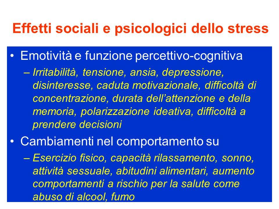 Effetti sociali e psicologici dello stress