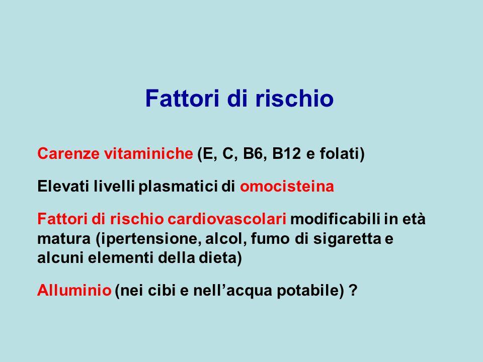 Fattori di rischio Carenze vitaminiche (E, C, B6, B12 e folati)