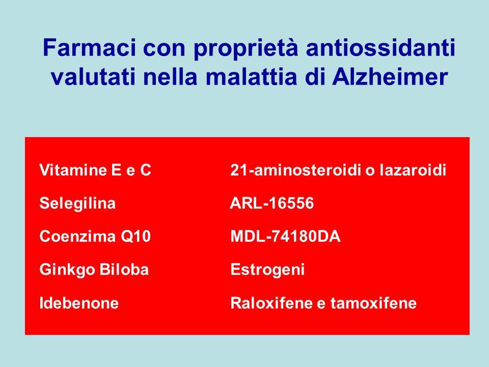 Farmaci con proprietà antiossidanti valutati nella malattia di Alzheimer