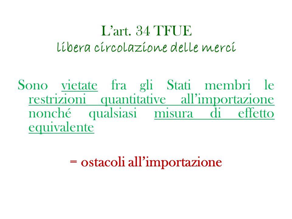 L'art. 34 TFUE libera circolazione delle merci