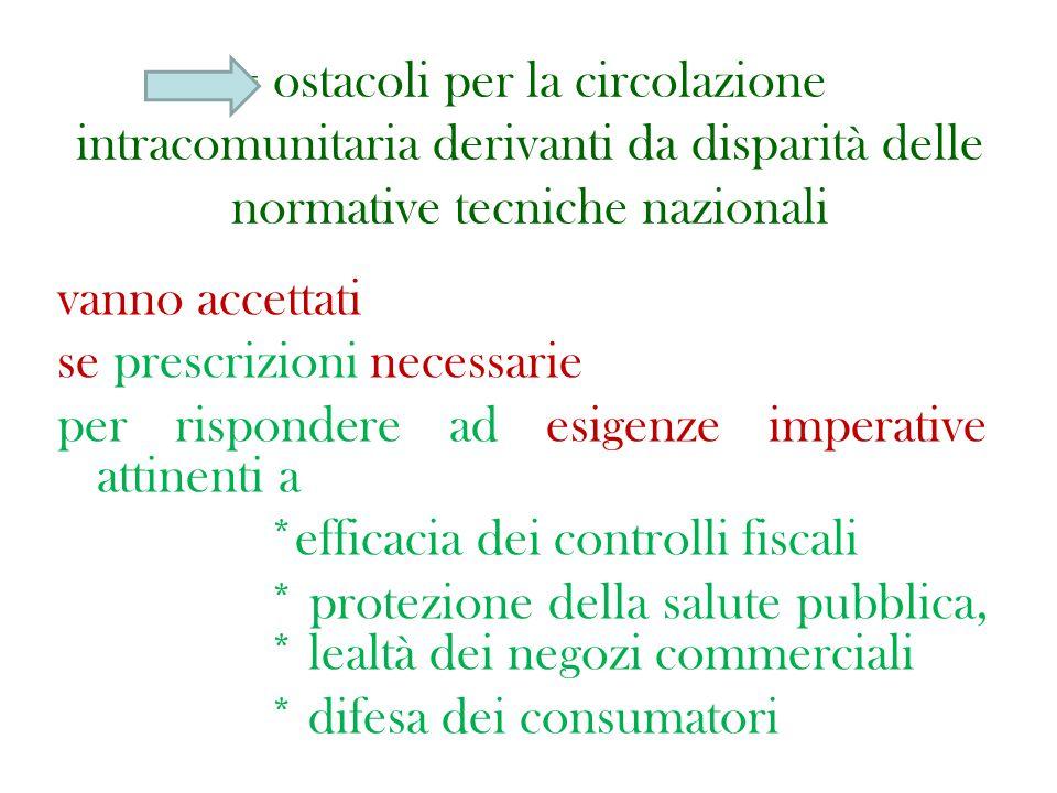 = ostacoli per la circolazione intracomunitaria derivanti da disparità delle normative tecniche nazionali