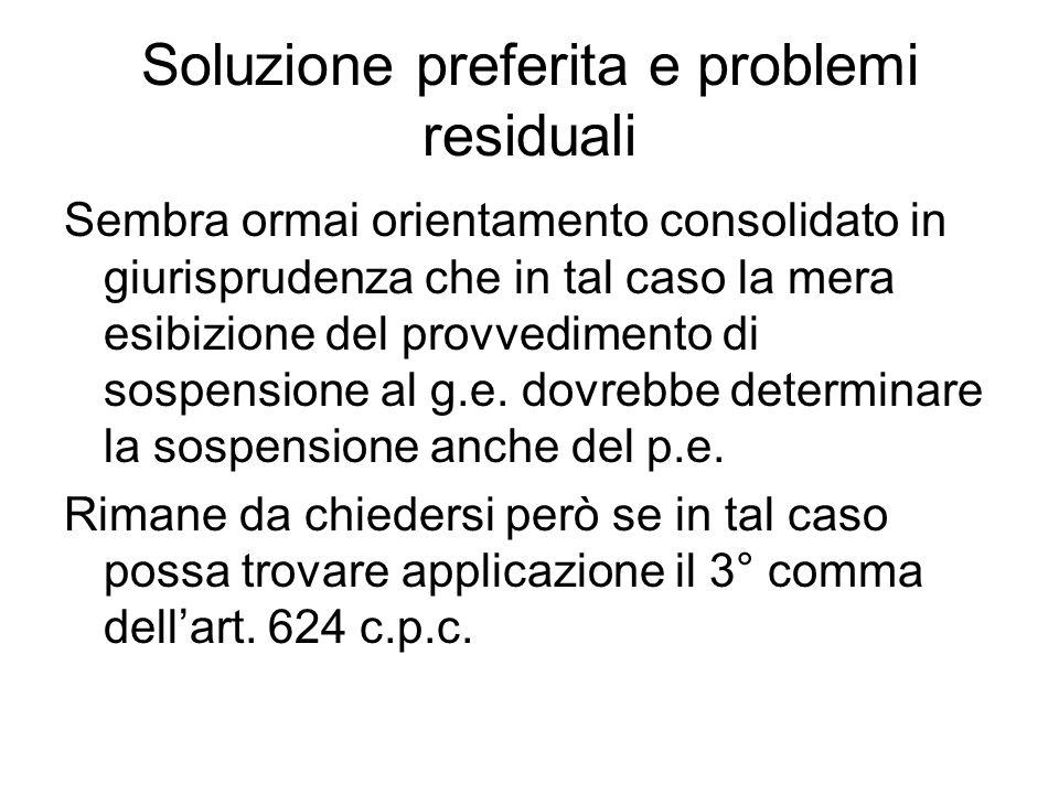 Soluzione preferita e problemi residuali