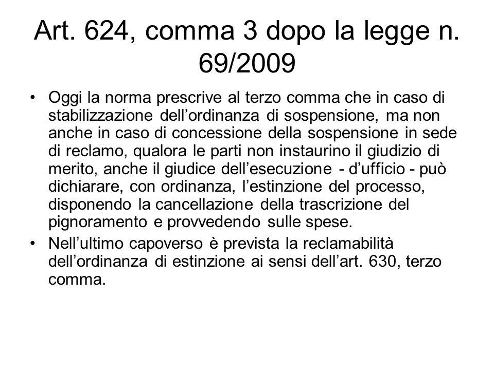 Art. 624, comma 3 dopo la legge n. 69/2009