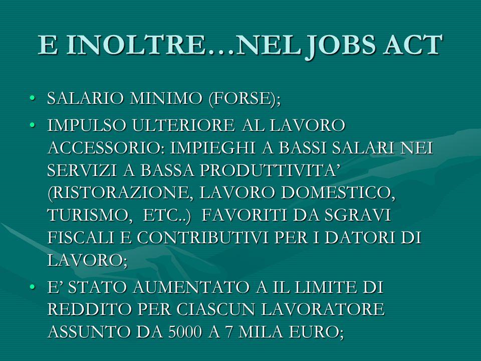 E INOLTRE…NEL JOBS ACT SALARIO MINIMO (FORSE);