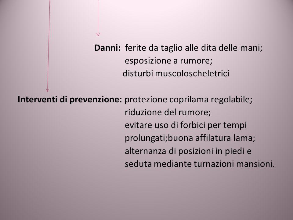 Danni: ferite da taglio alle dita delle mani;