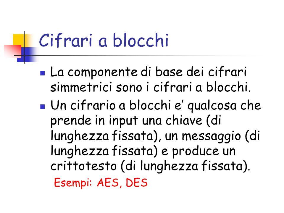 Cifrari a blocchi La componente di base dei cifrari simmetrici sono i cifrari a blocchi.