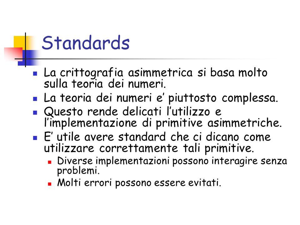 Standards La crittografia asimmetrica si basa molto sulla teoria dei numeri. La teoria dei numeri e' piuttosto complessa.