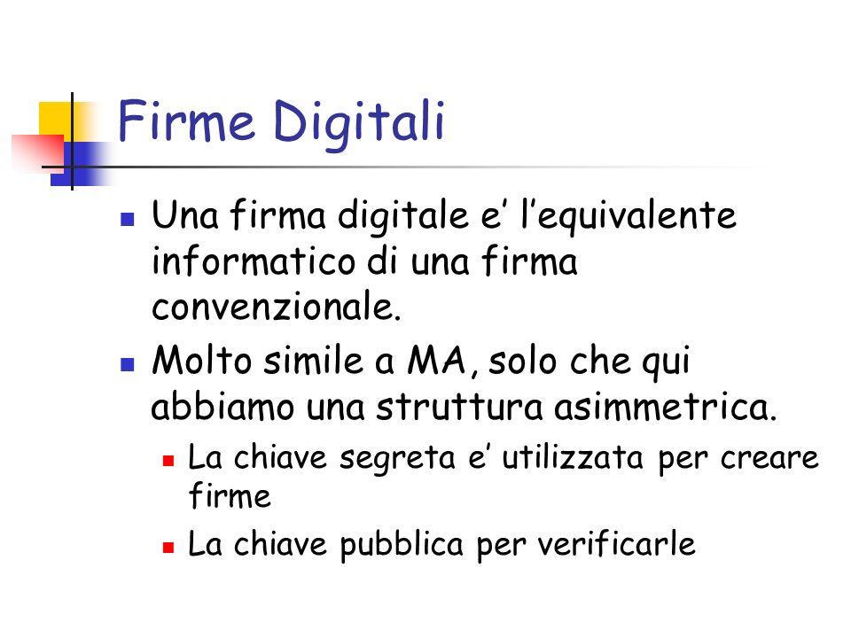 Firme Digitali Una firma digitale e' l'equivalente informatico di una firma convenzionale.