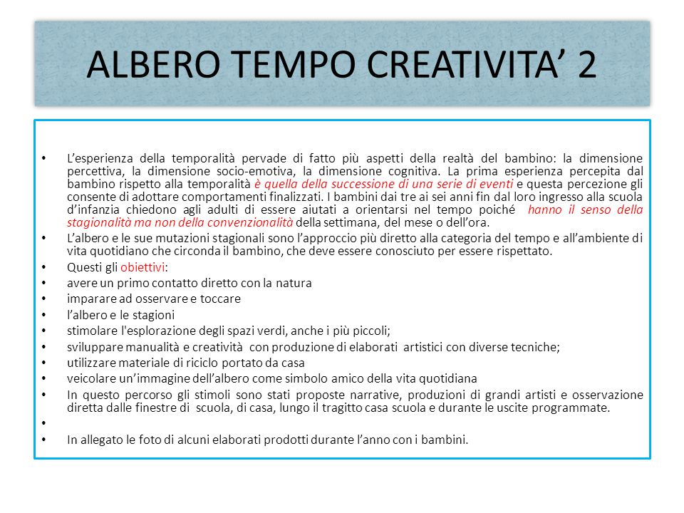 ALBERO TEMPO CREATIVITA' 2