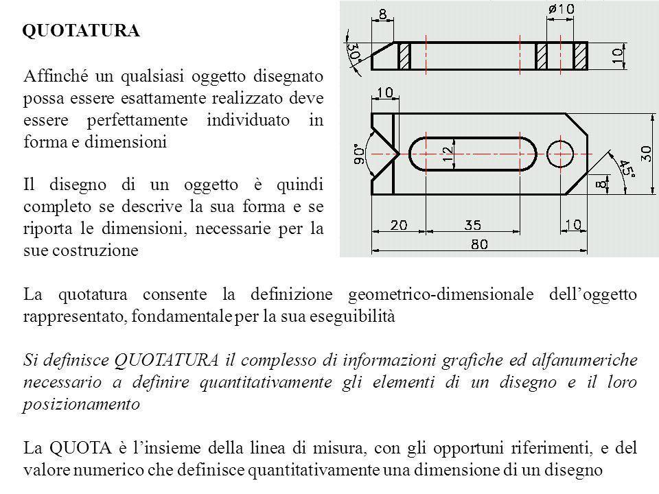 QUOTATURA Affinché un qualsiasi oggetto disegnato possa essere esattamente realizzato deve essere perfettamente individuato in forma e dimensioni.
