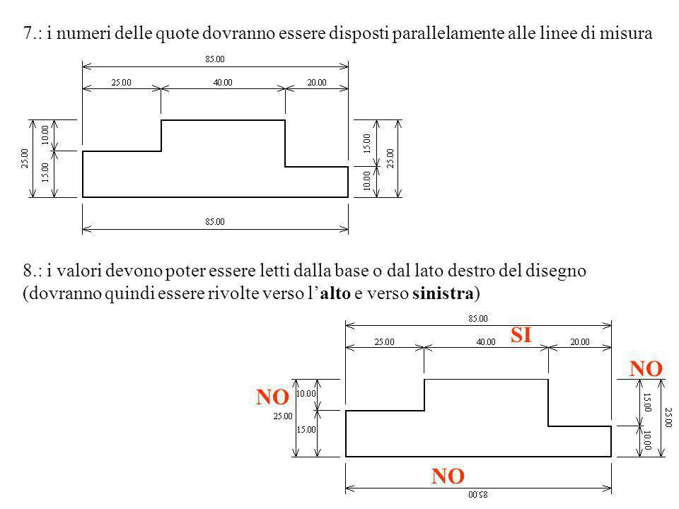 7.: i numeri delle quote dovranno essere disposti parallelamente alle linee di misura