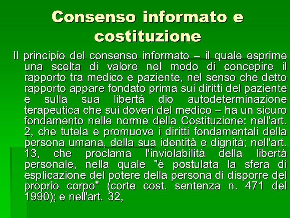 Consenso informato e costituzione