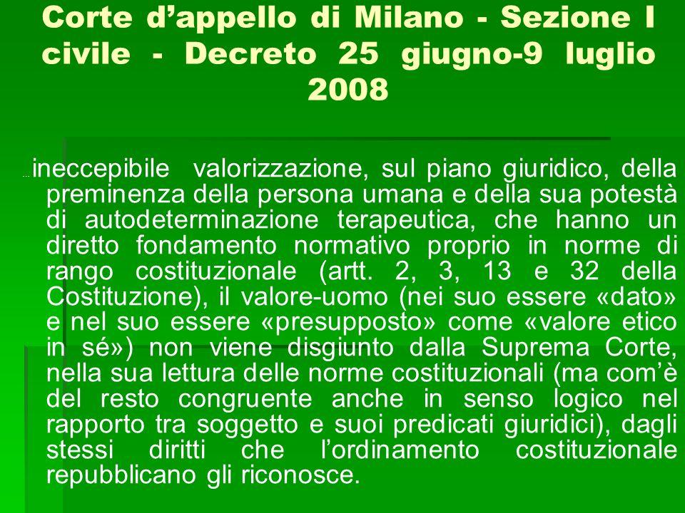 Corte d'appello di Milano - Sezione I civile - Decreto 25 giugno-9 luglio 2008