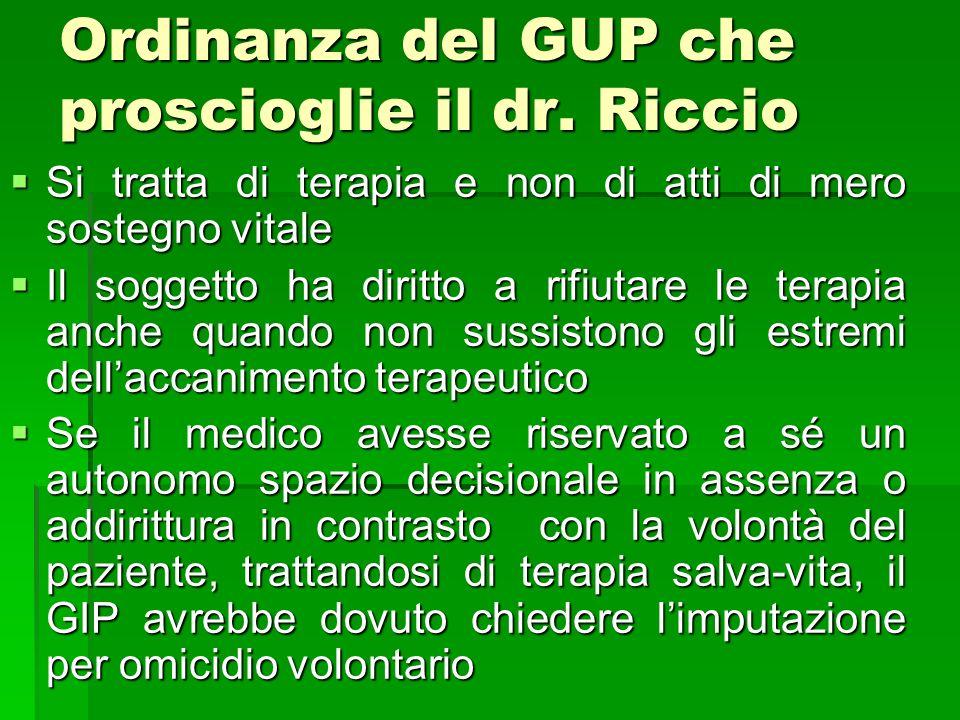 Ordinanza del GUP che proscioglie il dr. Riccio