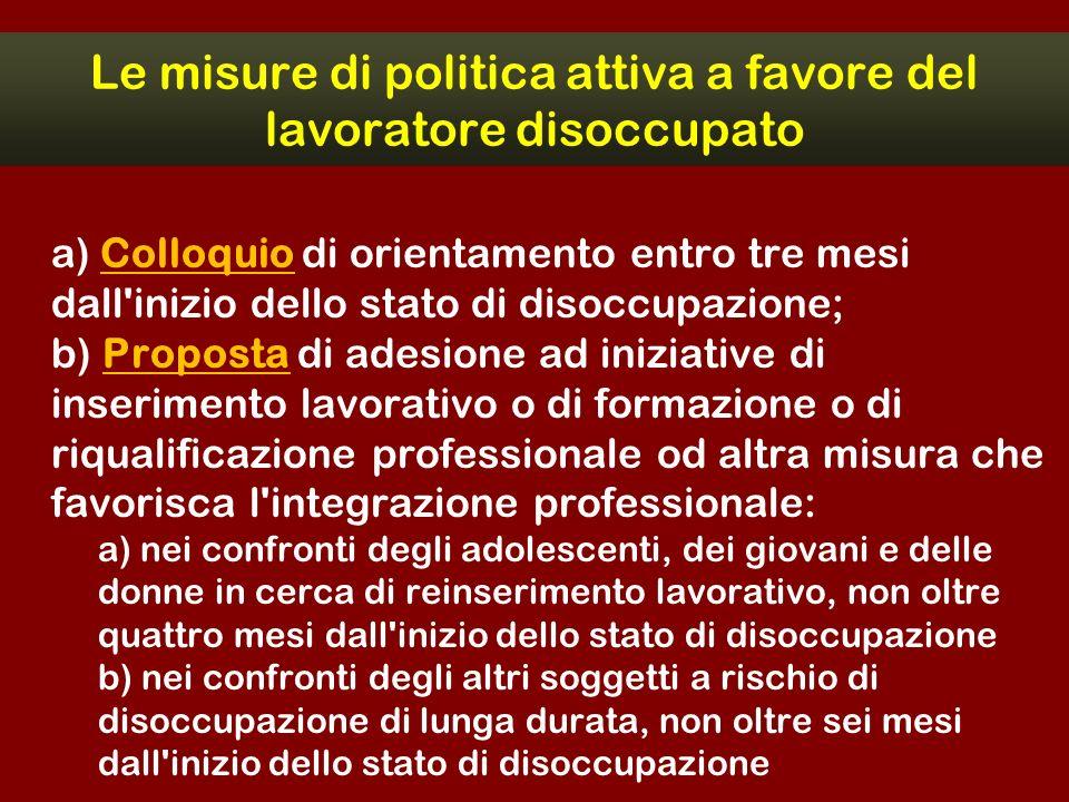 Le misure di politica attiva a favore del lavoratore disoccupato