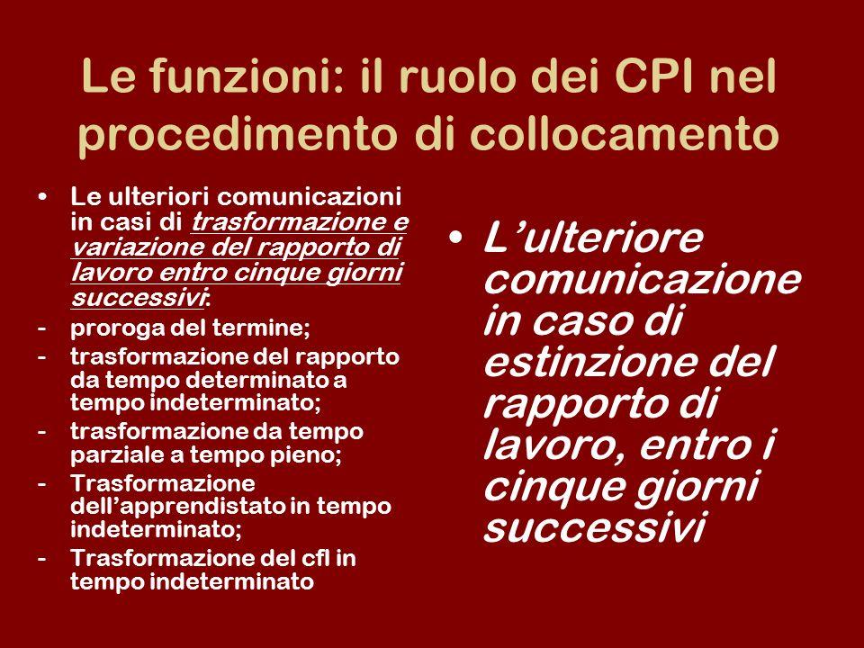 Le funzioni: il ruolo dei CPI nel procedimento di collocamento