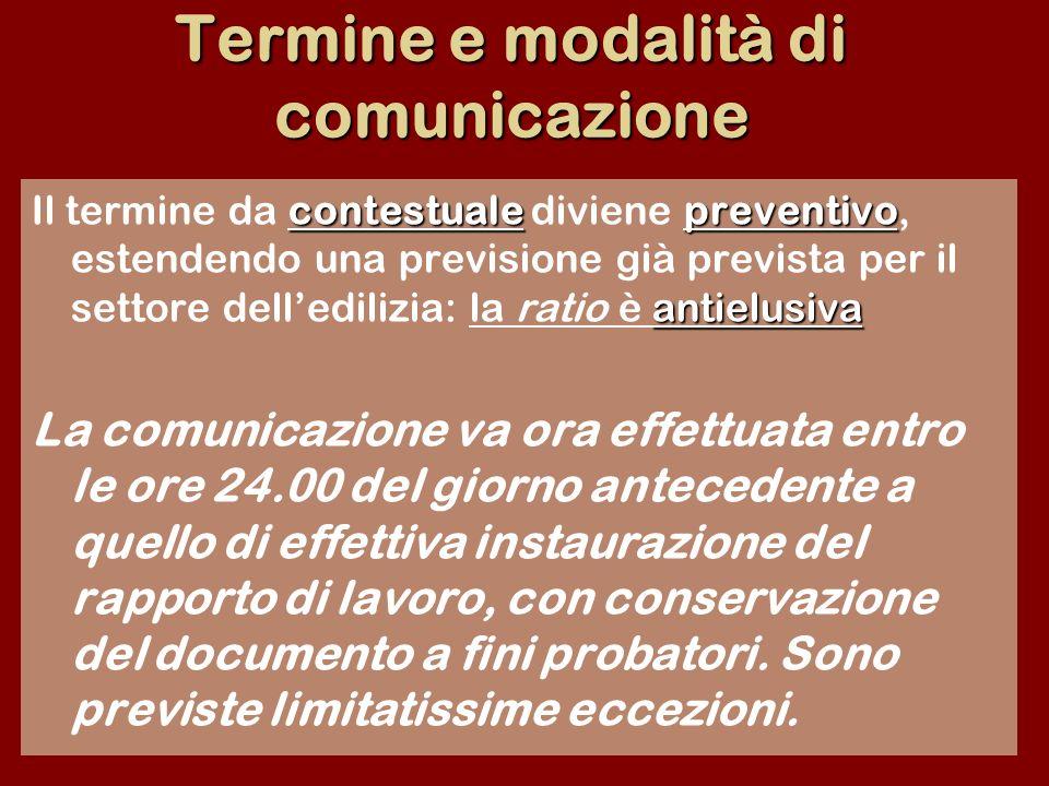 Termine e modalità di comunicazione