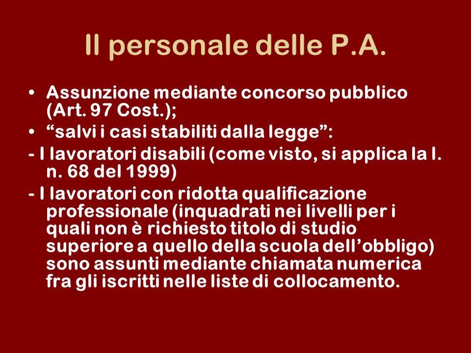 Il personale delle P.A. Assunzione mediante concorso pubblico (Art. 97 Cost.); salvi i casi stabiliti dalla legge :