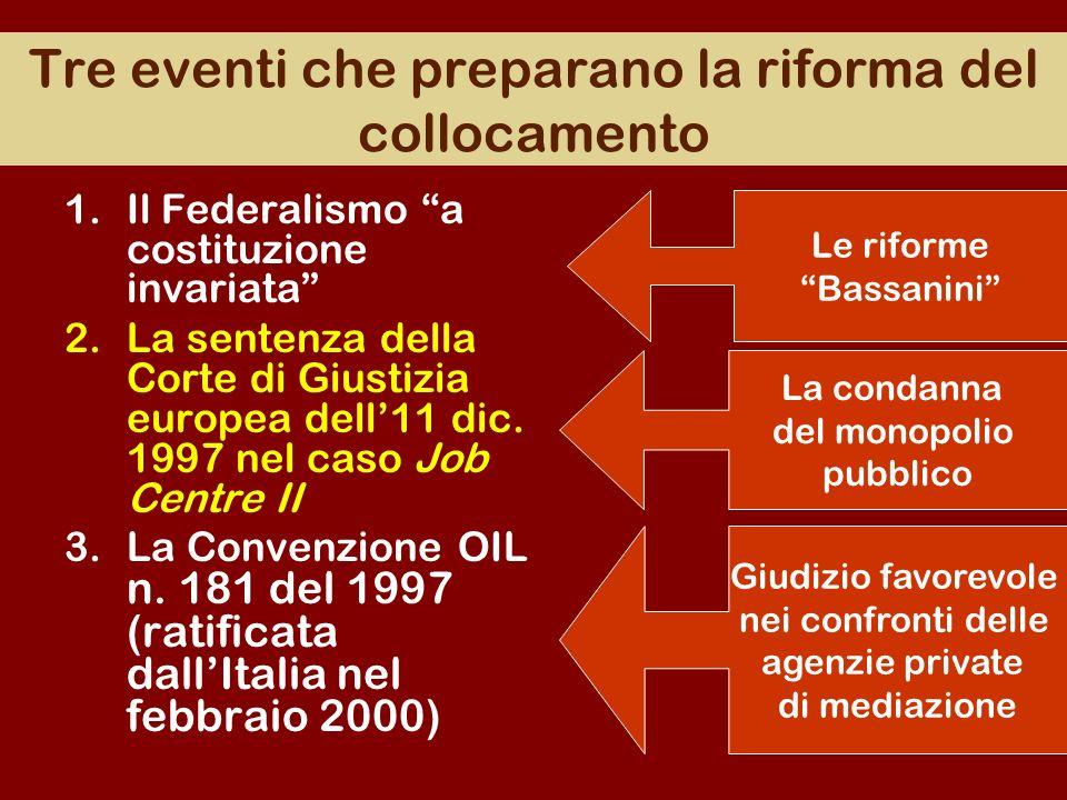 Tre eventi che preparano la riforma del collocamento