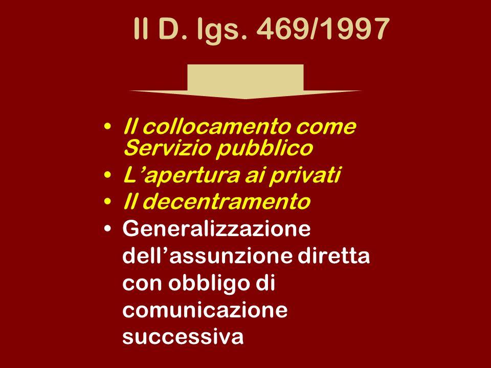 Il D. lgs. 469/1997 Il collocamento come Servizio pubblico