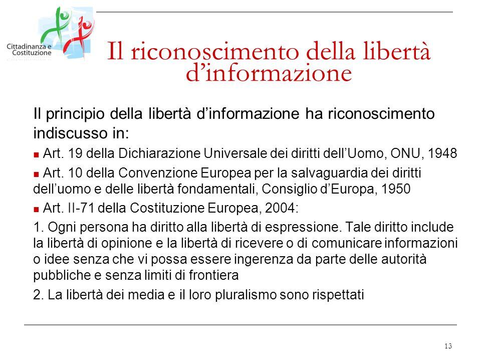 Il riconoscimento della libertà d'informazione