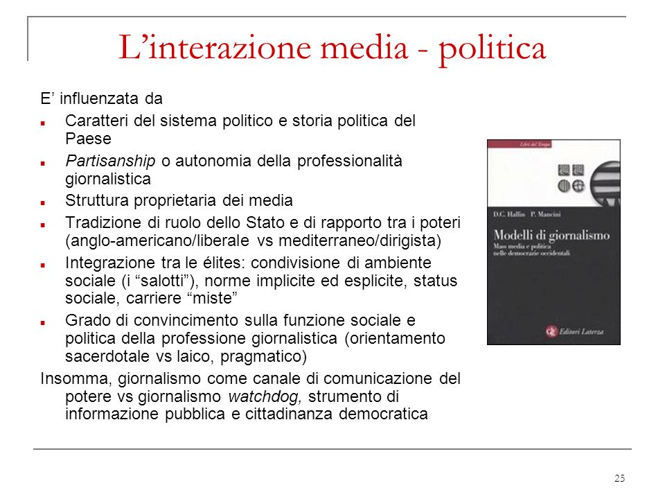L'interazione media - politica