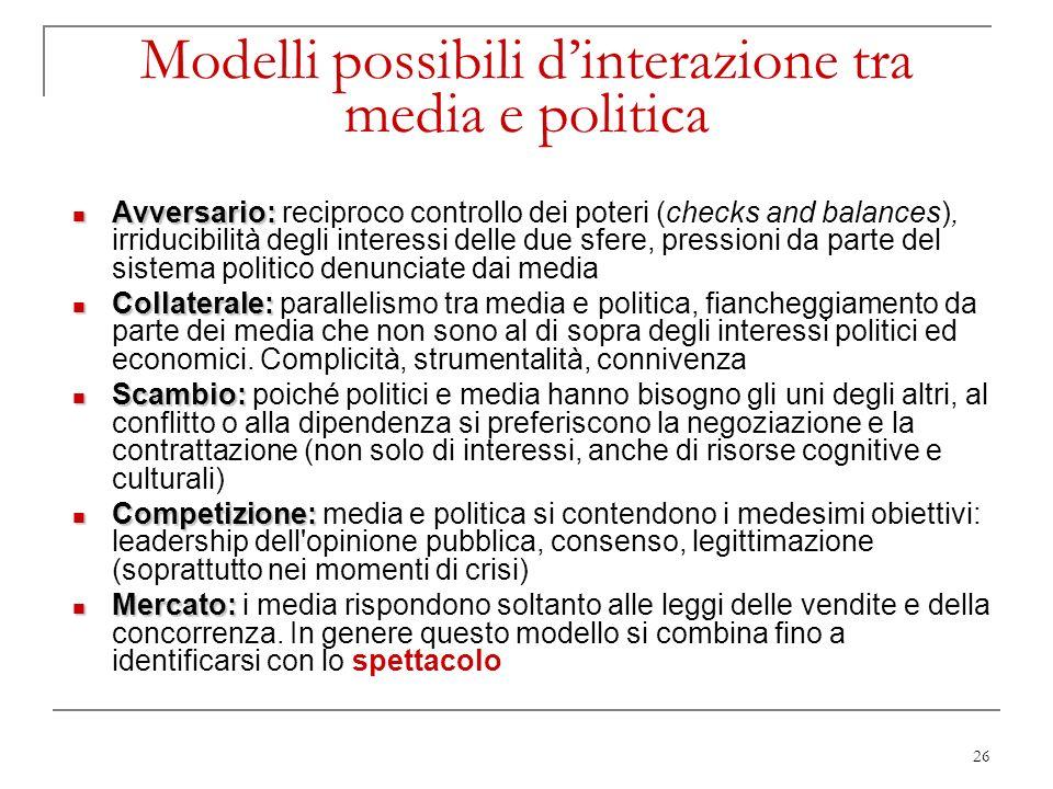 Modelli possibili d'interazione tra media e politica