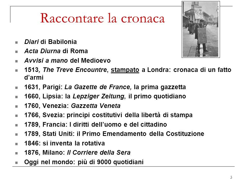 Raccontare la cronaca Diari di Babilonia Acta Diurna di Roma