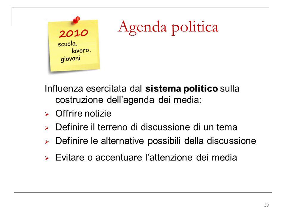 Agenda politica Influenza esercitata dal sistema politico sulla costruzione dell'agenda dei media: Offrire notizie.
