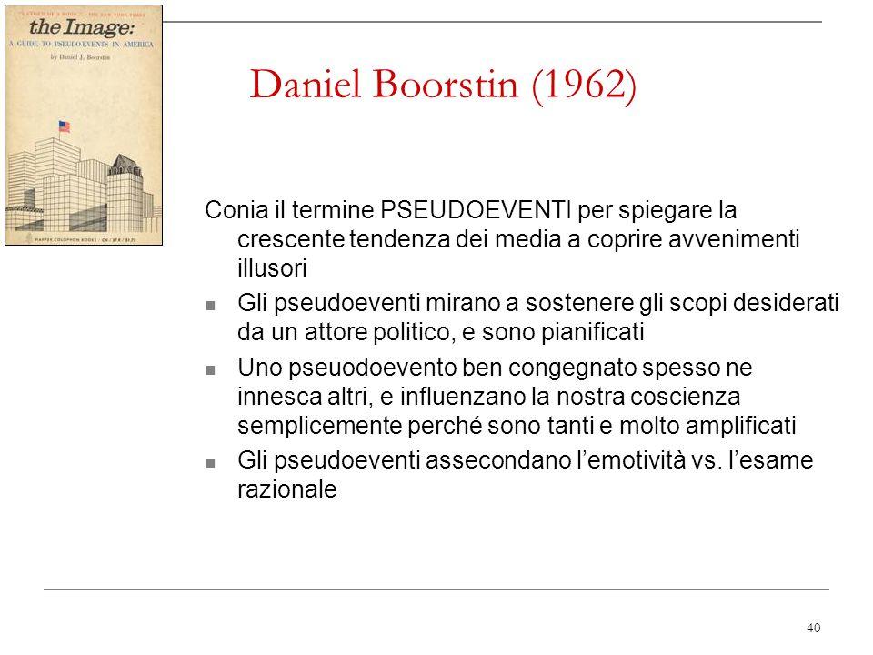 Daniel Boorstin (1962) Conia il termine PSEUDOEVENTI per spiegare la crescente tendenza dei media a coprire avvenimenti illusori.