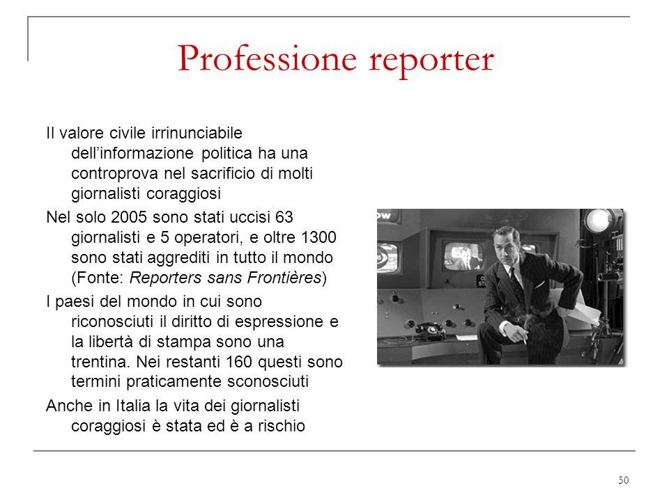 Professione reporter Il valore civile irrinunciabile dell'informazione politica ha una controprova nel sacrificio di molti giornalisti coraggiosi.