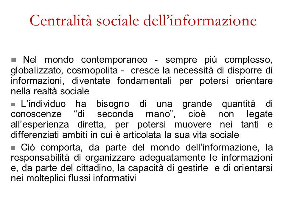 Centralità sociale dell'informazione