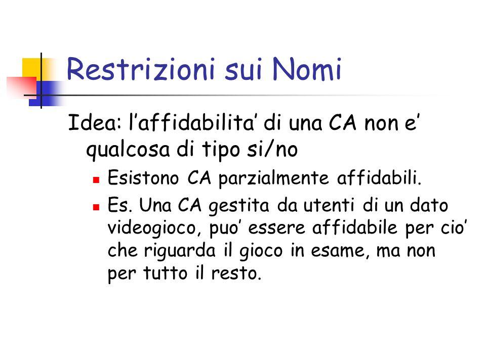 Restrizioni sui Nomi Idea: l'affidabilita' di una CA non e' qualcosa di tipo si/no. Esistono CA parzialmente affidabili.