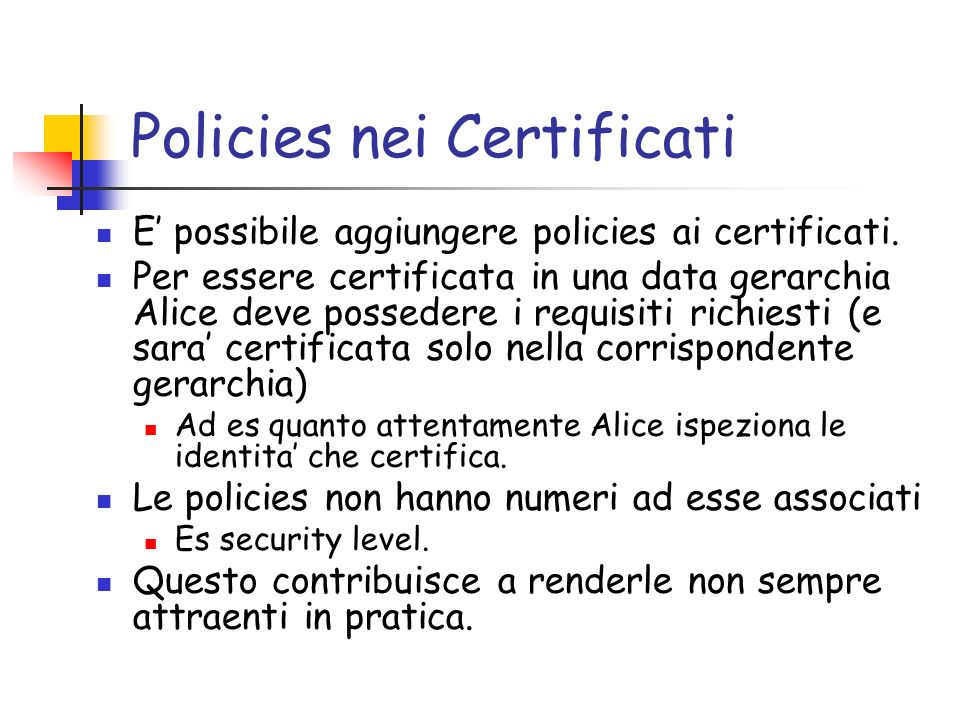 Policies nei Certificati