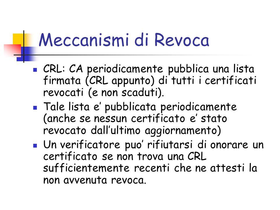 Meccanismi di Revoca CRL: CA periodicamente pubblica una lista firmata (CRL appunto) di tutti i certificati revocati (e non scaduti).