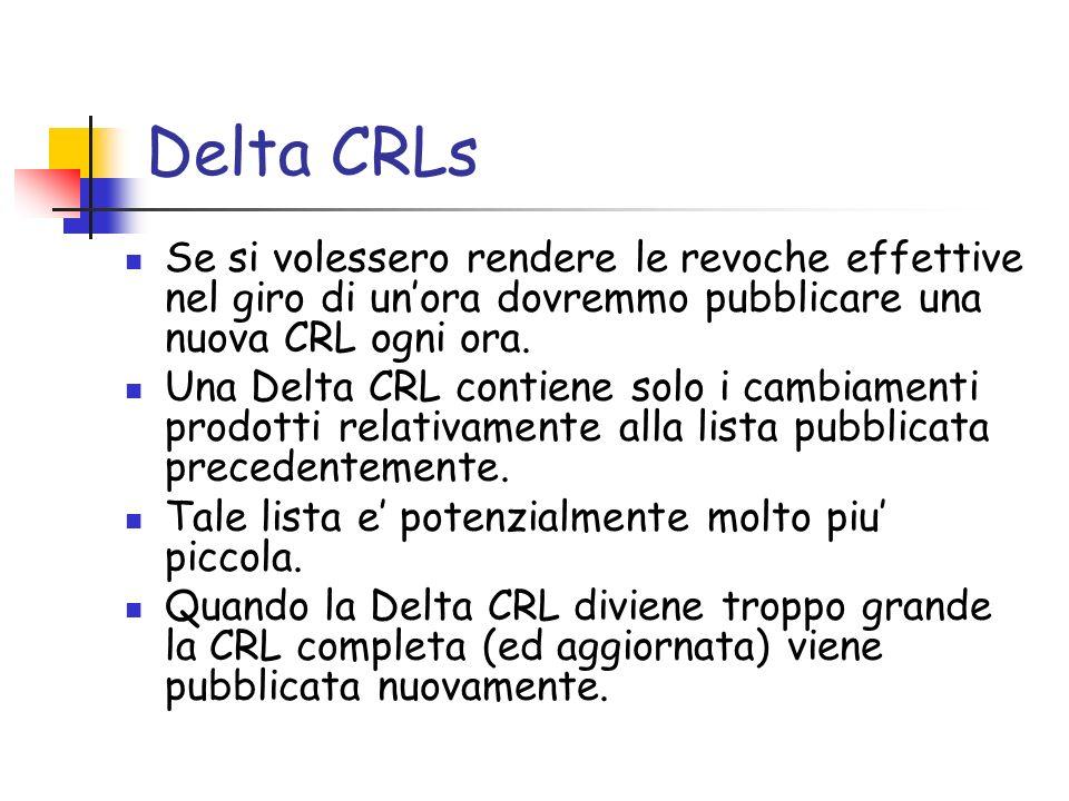 Delta CRLs Se si volessero rendere le revoche effettive nel giro di un'ora dovremmo pubblicare una nuova CRL ogni ora.